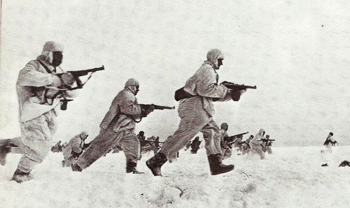 Soviet troops in winter camouflage
