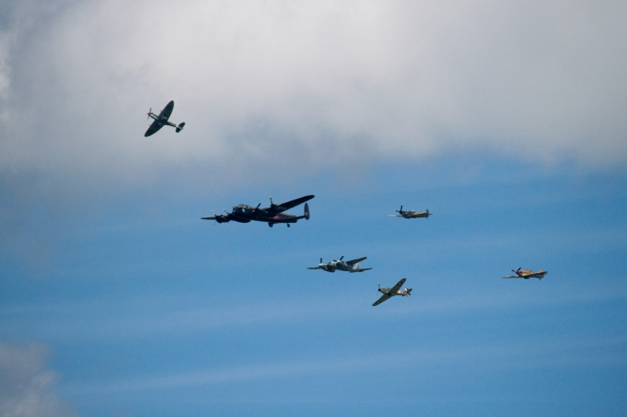 Lancaster, Mosquito, and fighters