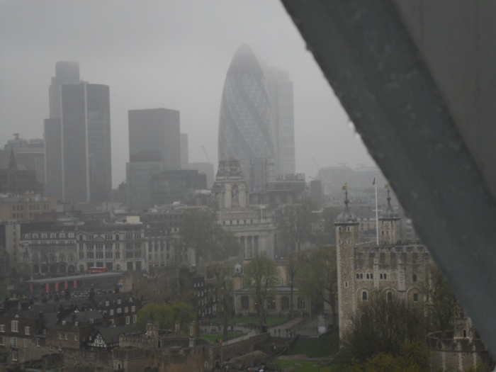 The Gherkin and Tower in rain